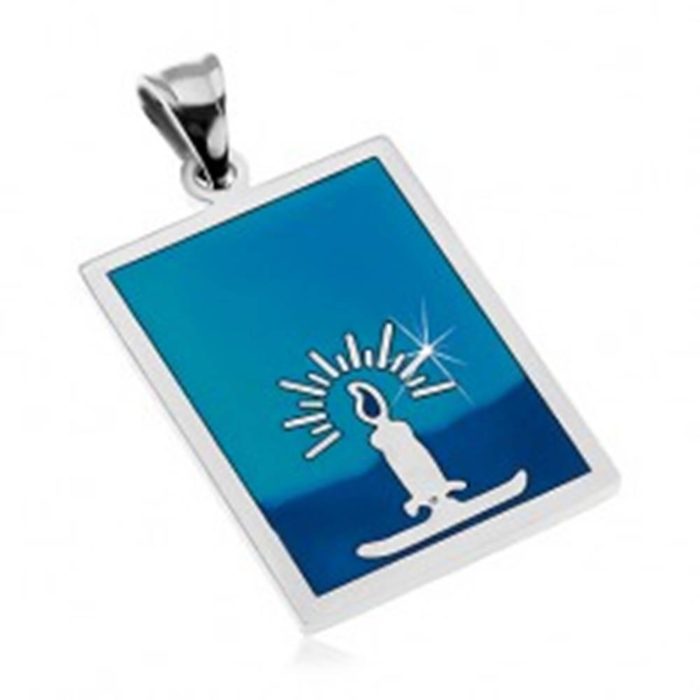Šperky eshop Prívesok z chirurgickej ocele, sviečka, glazúra v odtieňoch modrej farby