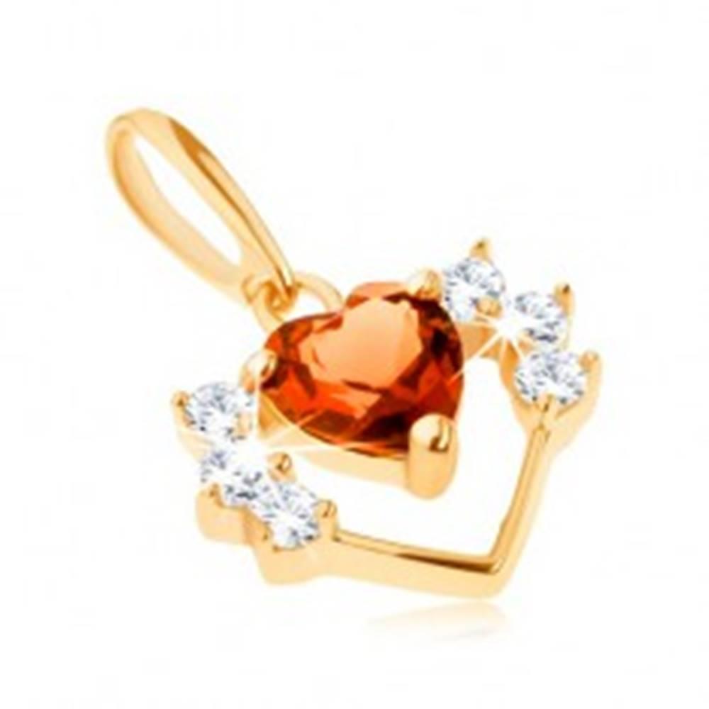 Šperky eshop Prívesok zo žltého 14K zlata - obrys srdca so zirkónmi a brúsené oranžové srdiečko