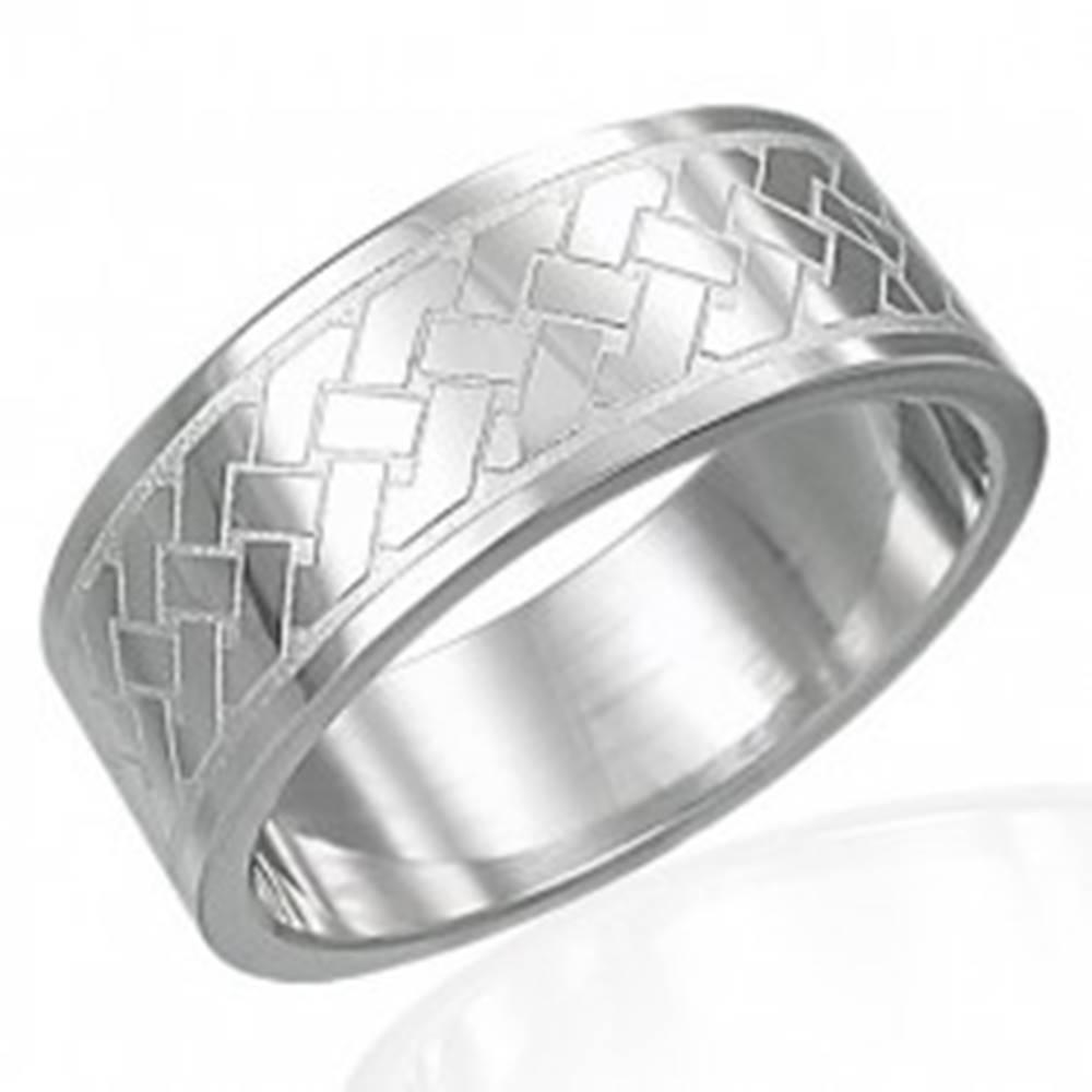 Šperky eshop Prsteň z chirurgickej ocele - Keltský pletený vzor - Veľkosť: 54 mm