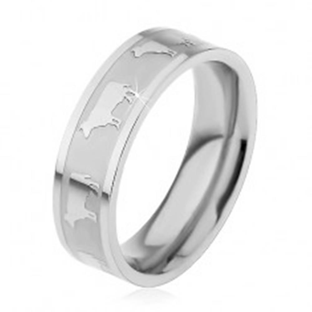 Šperky eshop Prsteň z ocele 316L s kombinovaným lesklo-matným povrchom, motív kráv, 6 mm - Veľkosť: 49 mm