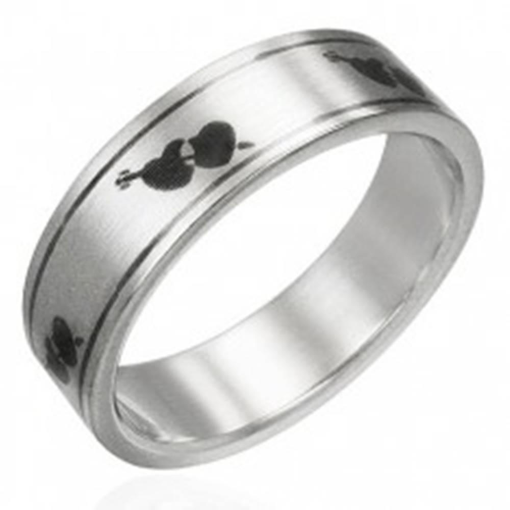 Šperky eshop Prsteň z ocele matný - srdiečka a šíp - Veľkosť: 51 mm