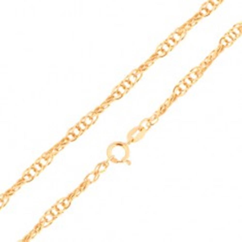 Šperky eshop Retiazka zo žltého 14K zlata - ligotavé oválne očká, špirálový vzor, rôzne dĺžky - Dĺžka: 500 mm