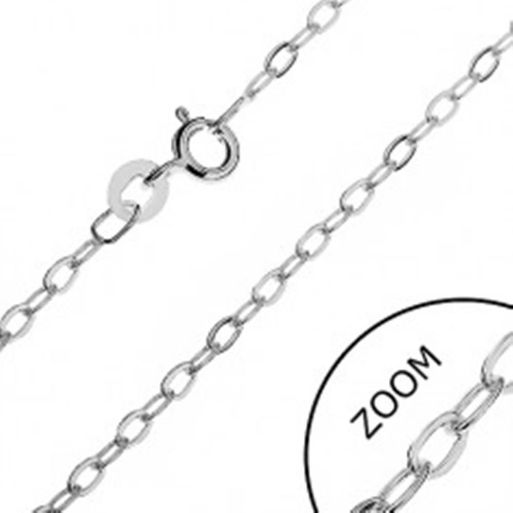 Šperky eshop Strieborná retiazka 925 - kolmo uchytené ploché očká, 2,1 mm