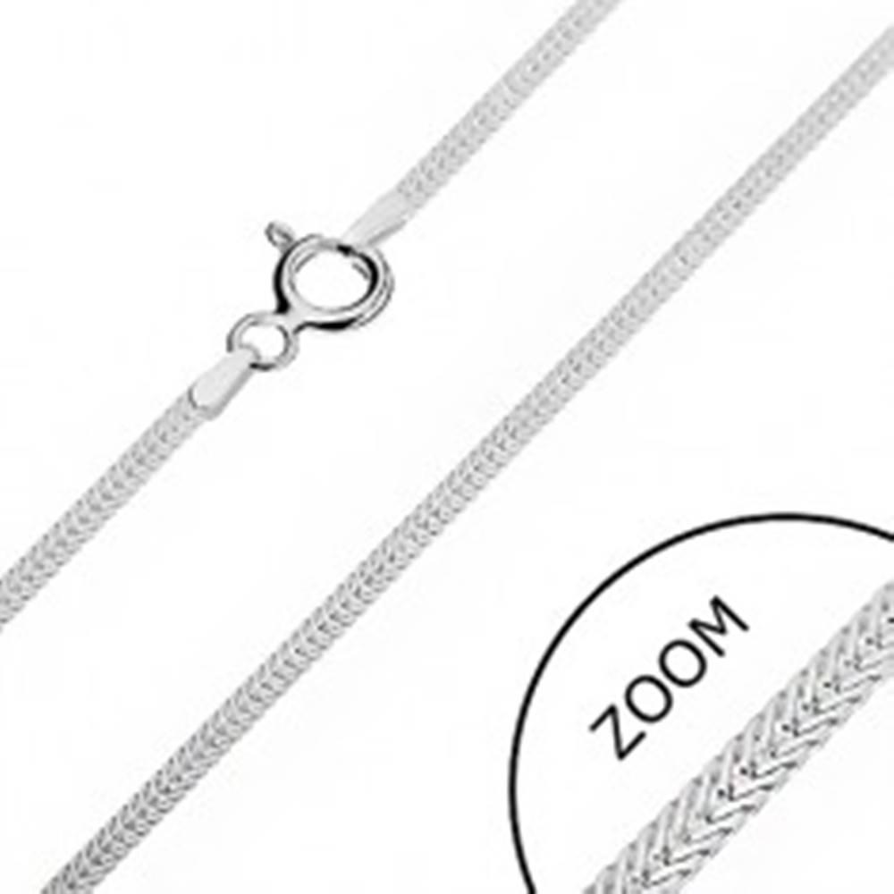 Šperky eshop Strieborná retiazka 925 - sploštené šikmo uložené očká, 1,6 mm