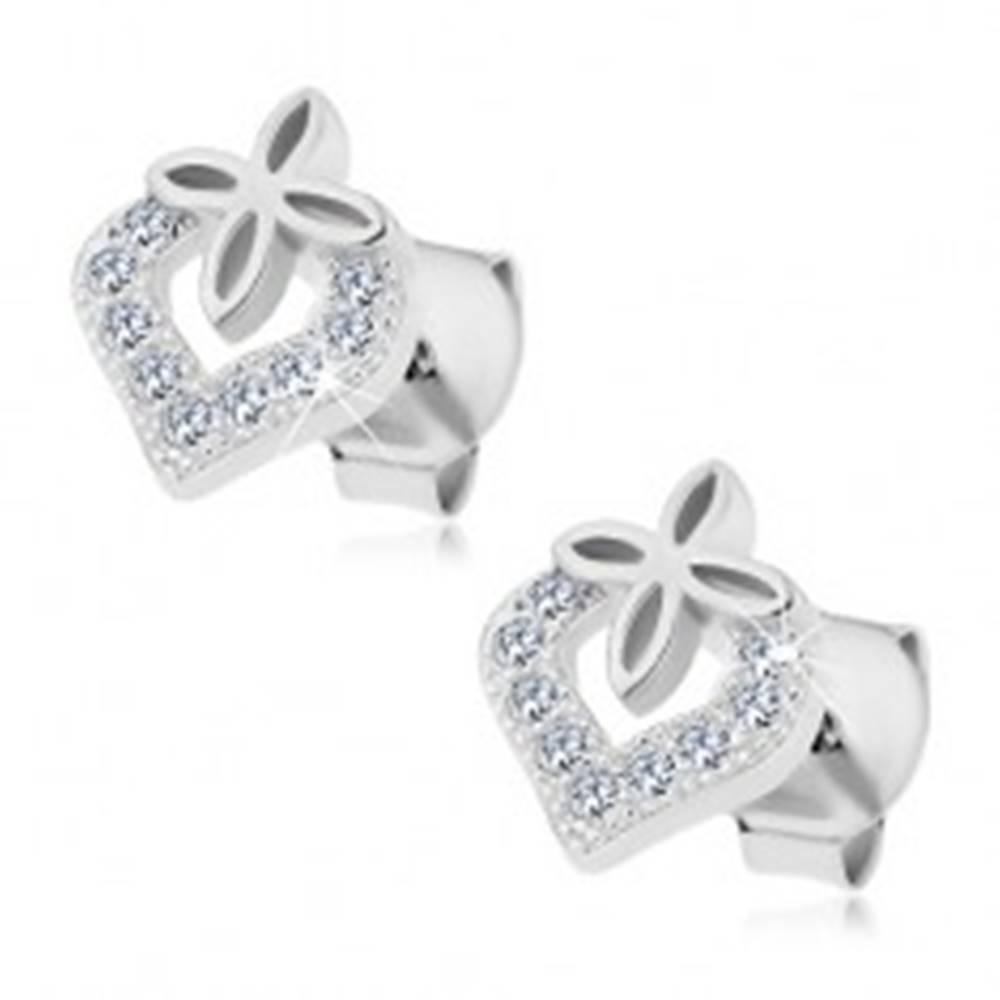 Šperky eshop Strieborné náušnice 925, neúplný obrys srdca so zirkónmi, malý kvietok