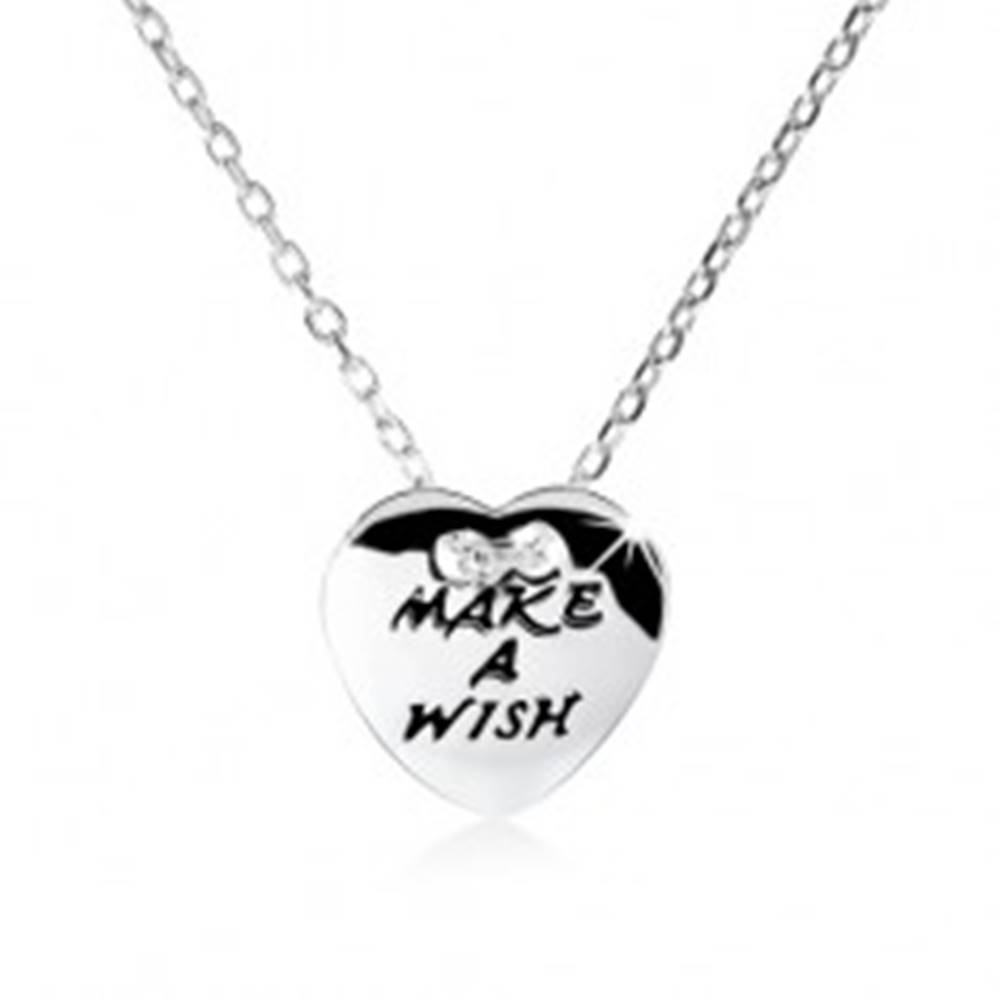 "Šperky eshop Strieborný náhrdelník 925, ploché srdce s nápisom ""MAKE A WISH"""