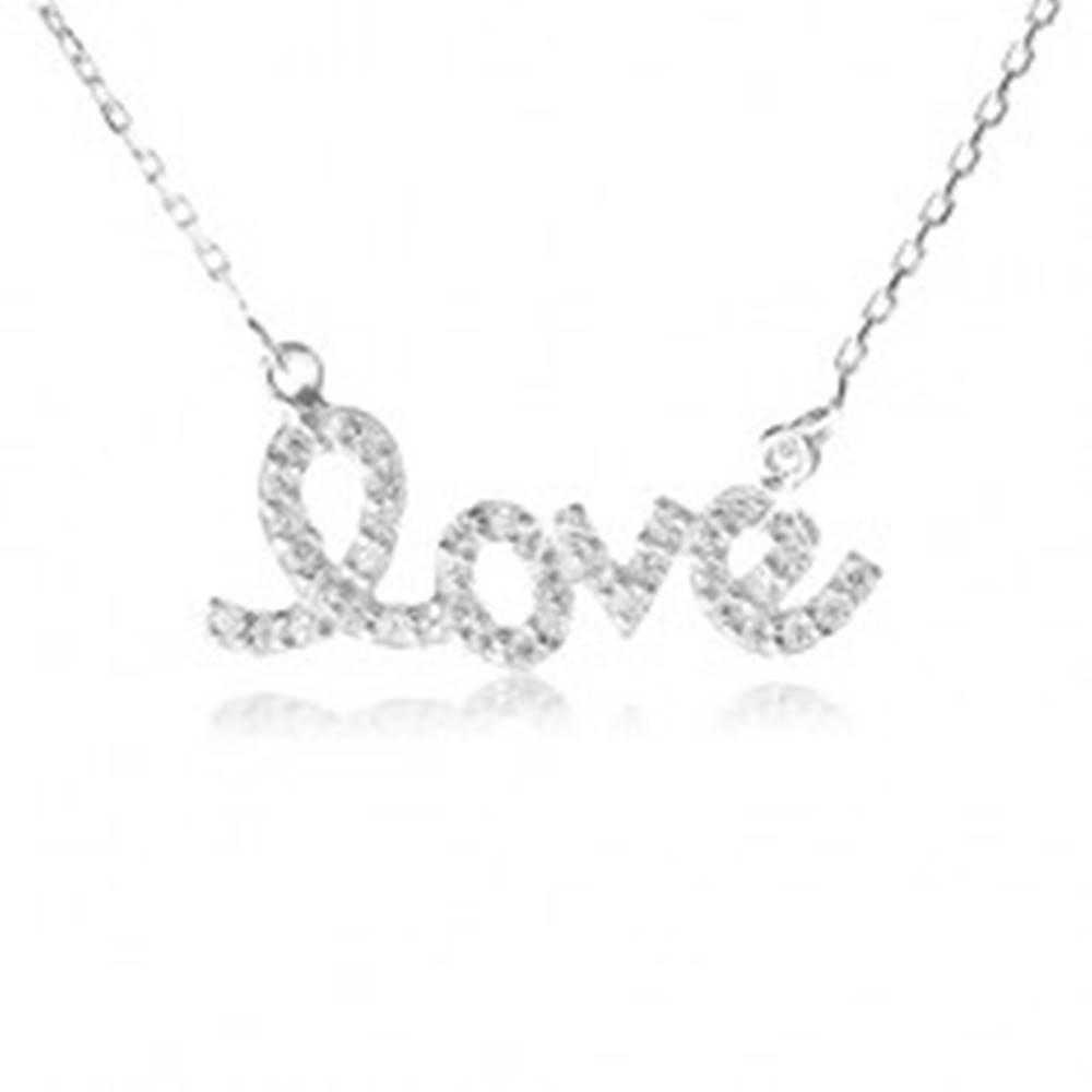 """Šperky eshop Strieborný náhrdelník 925, prívesok """"love"""" so zirkónmi, jemná retiazka"""