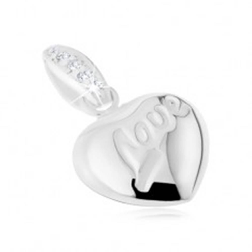 """Šperky eshop Strieborný prívesok 925, vypuklé srdiečko, nápis """"Love"""", zirkóny"""