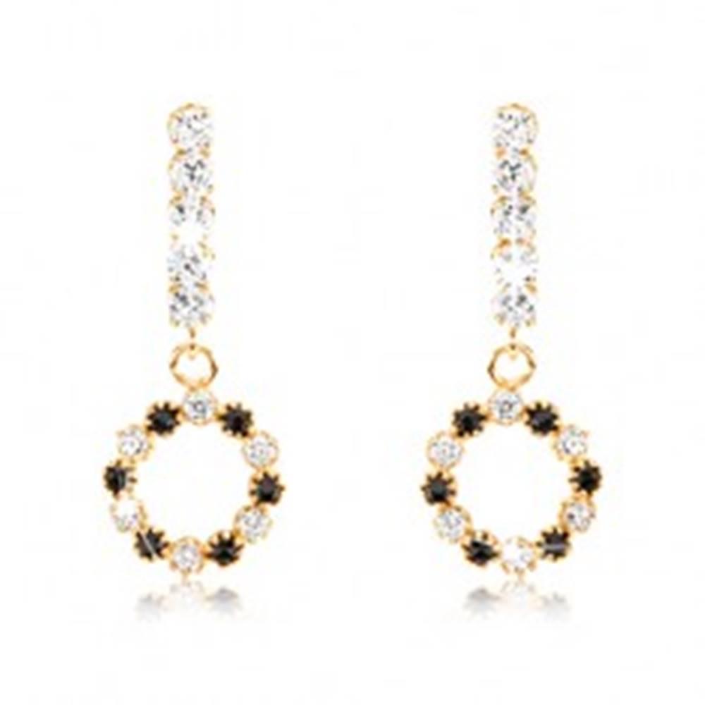 Šperky eshop Zlaté náušnice 375 - obruč so striedajúcich sa zirkónov a čiernych zafírov