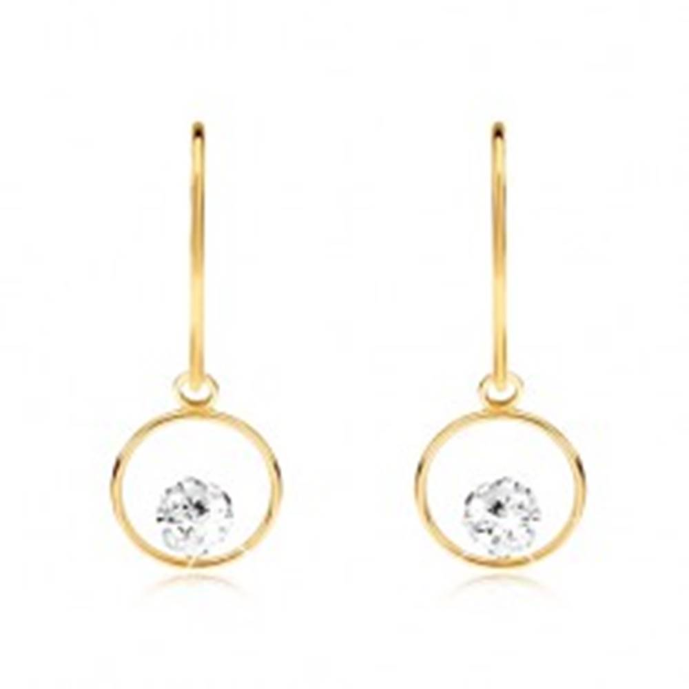 Šperky eshop Zlaté náušnice 375 - tenká lesklá obruč so zirkónovou guľôčkou