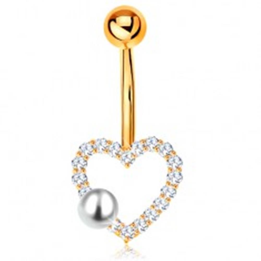 Šperky eshop Zlatý 375 piercing do bruška - banán s guľôčkou, zirkónový obrys srdiečka, perla