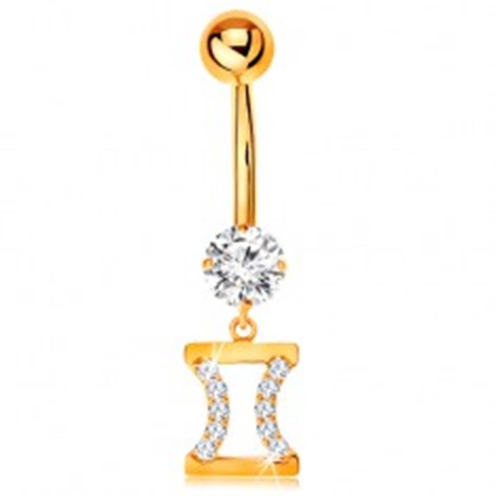 Šperky eshop Zlatý 375 piercing do bruška - číry zirkón, znamenie zverokruhu - BLÍŽENCI