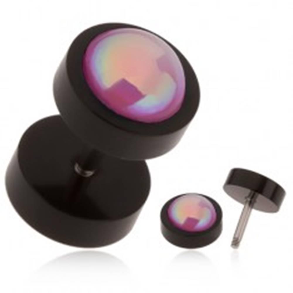 Šperky eshop Akrylový fake plug do ucha, čierna farba, ružová gulička, dúhový odlesk