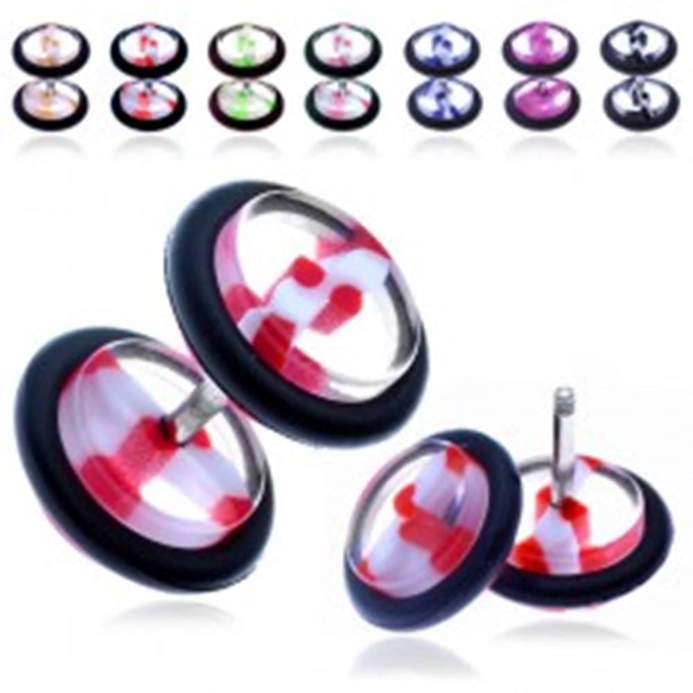 Šperky eshop Akrylový fake plug - priehľadné koliesko s farebným pruhom - Farba piercing: Červená