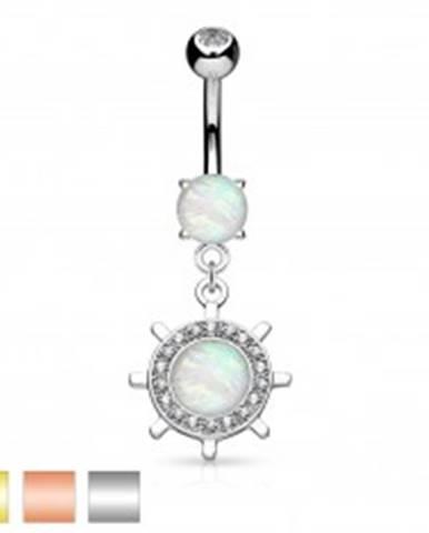 Piercing do brucha, oceľ 316L, kormidlo so syntetickým opálom a zirkónikmi - Farba piercing: Medená
