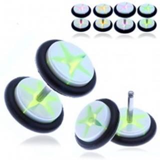 Akrylový fake plug - biele kolieska s farebnou hviezdou - Farba piercing: Fialová