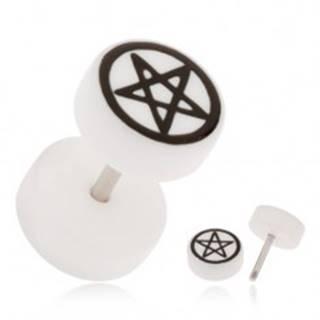Akrylový fake plug do ucha, biela farba, pentagram