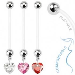 Bioflex piercing do pupku pre tehotné ženy - zirkónové srdce - Farba zirkónu: Červená - R