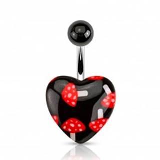Čierny piercing do bruška z ocele, gulička, srdce - červené muchotrávky