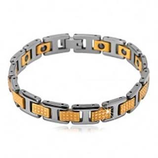 Dvojfarebný tungstenový náramok - lesklé obdĺžnikové a H-články, magnety