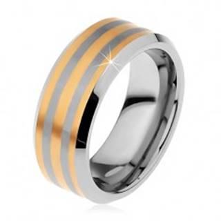 Dvojfarebný tungstenový prsteň s troma pásikmi zlatej farby, lesklo-matný, 8 mm - Veľkosť: 49 mm