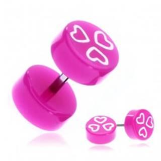 Fake piercing do ucha z akrylu - fialovoružové kolieska so srdiečkami