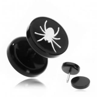 Fake piercing do ucha z akrylu - pavúk v čiernom kruhu