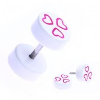 Fake piercing do ucha z akrylu - ružové srdiečka na valčeku