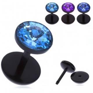 Falošný akrylový piercing do ucha - lúčovitý zirkón v objímke - Farba zirkónu: Aqua modrá - Q
