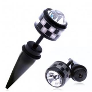 Falošný oceľový taper do ucha - šachovnica a okrúhly zirkón