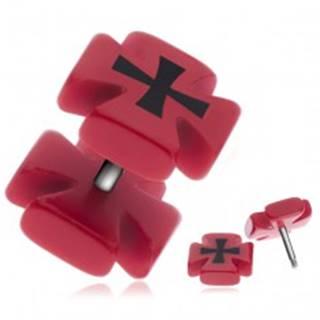 Falošný piercing do ucha - červený maltézsky kríž