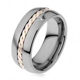 Lesklý prsteň z volfrámu s pleteným vzorom striebornej farby, 8 mm - Veľkosť: 49 mm