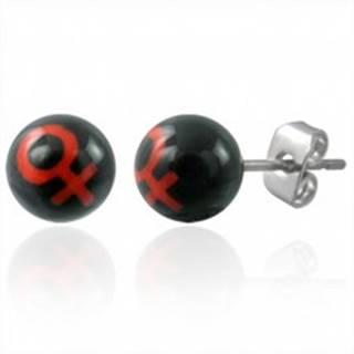 Malé náušnice z ocele guličky - symbol ŽENA