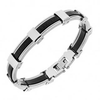 Náramok z gumy a ocele, čierna a strieborná farba, grécky kľúč - Dĺžka: 205 mm