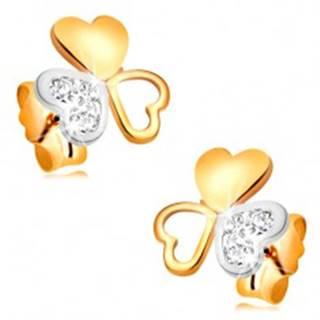 Náušnice z kombinovaného 14K zlata - lesklý trojlístok zo spojených srdiečok