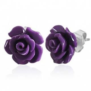 Náušnice z ocele 316L, malá fialová ruža, puzetky