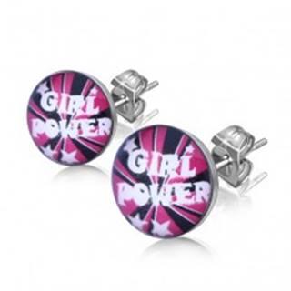 """Náušnice z ocele, text """"Girl Power"""" a hviezdičky"""