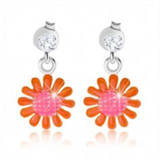 Náušnice zo striebra 925, ružovo-oranžový kvet, lesklá glazúra