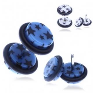 Nepravý akrylový piercing do ucha s hviezdičkami - Farba piercing: Biela