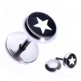 Nepravý oceľový piercing do ucha s hviezdou v čiernom kruhu