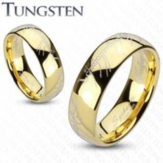 Obrúčka z wolfrámu zlatej farby, motív Pána prsteňov  - Veľkosť: 47 mm