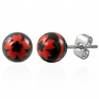 Oceľové náušnice čierne guličky - znak červený kvet