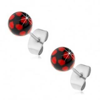 Oceľové náušnice, čierno-červené guličky, puzetové zapínanie