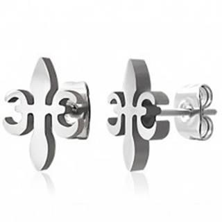 Oceľové náušnice - kríž z ľalie