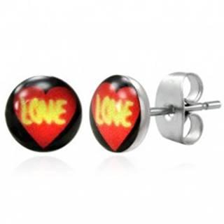 Oceľové náušnice - srdce LOVE