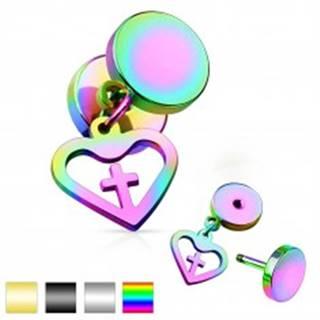 Oceľový fake plug, dva lesklé kruhy a prívesok - kontúra srdca s krížom - Farba piercing: Čierna
