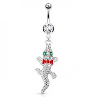Oceľový piercing do bruška, krokodíl so smaragdovými očami a červenou mašličkou
