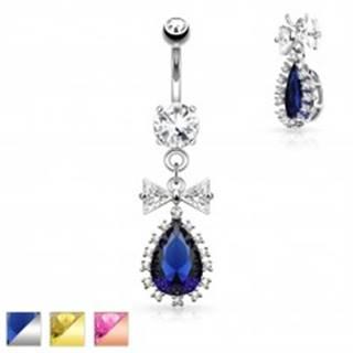 Oceľový piercing do pupku, číra mašlička a farebná zirkónová kvapka - Farba piercing: Medená