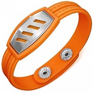 Oranžový gumený náramok - šikmé výrezy na známke, grécky kľúč