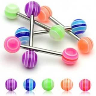 Piercing do jazyka -  UV Multicolor Ball  - Farba piercing: Fialová